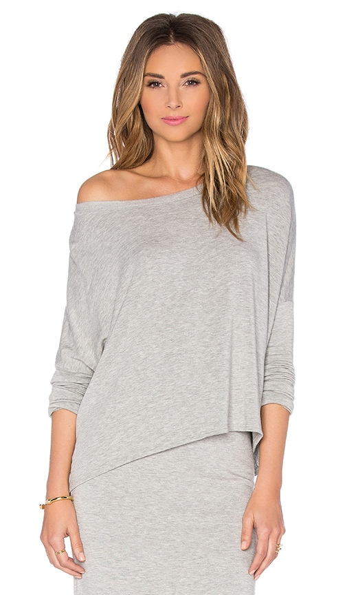 Beautiful People Off The Shoulder Long Sleeve Pullover in Grey