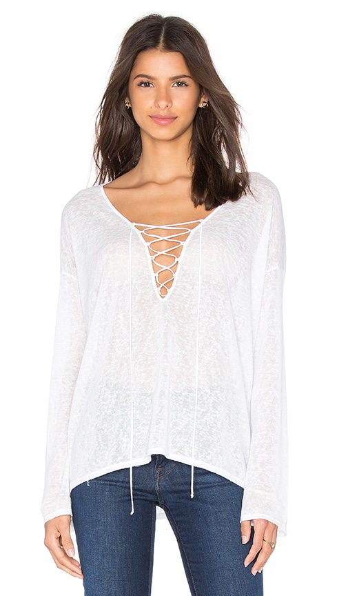 Beautiful People V Neck Lace Up Top in White