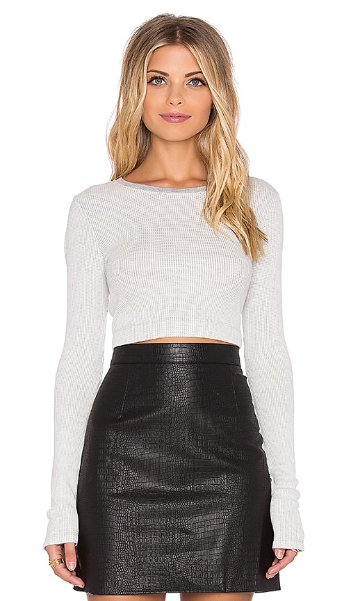 Beautiful People Long Sleeve Crop Top in Grey