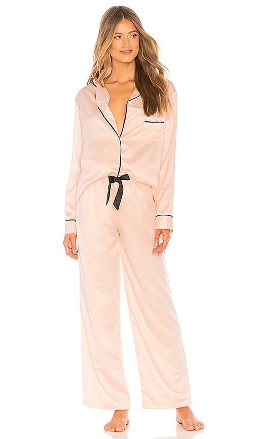 e87ac166bb BLUEBELLA Abigail Long PJ Set in Pale Pink   Black