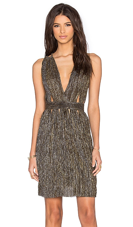 BEC&BRIDGE Santal Double Strap Dress in Metallic Gold