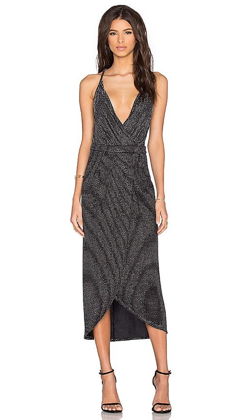 BEC&BRIDGE Magic Night Wrap Dress in Metallic Silver