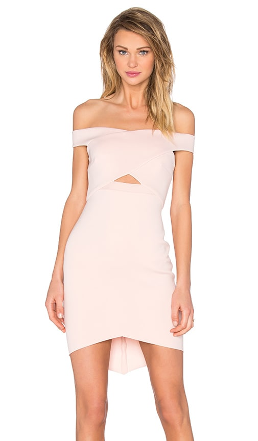BEC&BRIDGE Desert of Paradise Off Shoulder Mini Dress in Blush