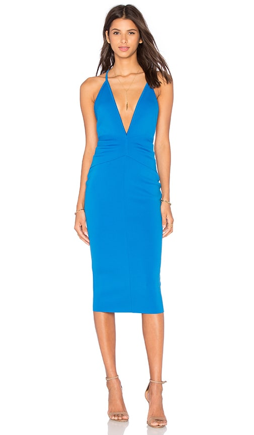 BEC&BRIDGE Electric Deep V Dress in Blue