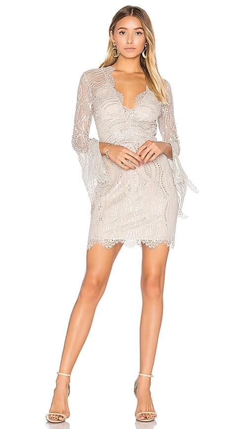 BEC&BRIDGE Mirror Palace Plunge Dress in Metallic Silver