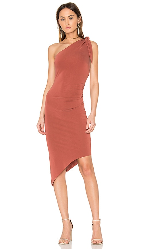 BEC&BRIDGE Titania Asymmetrical Midi Dress in Red