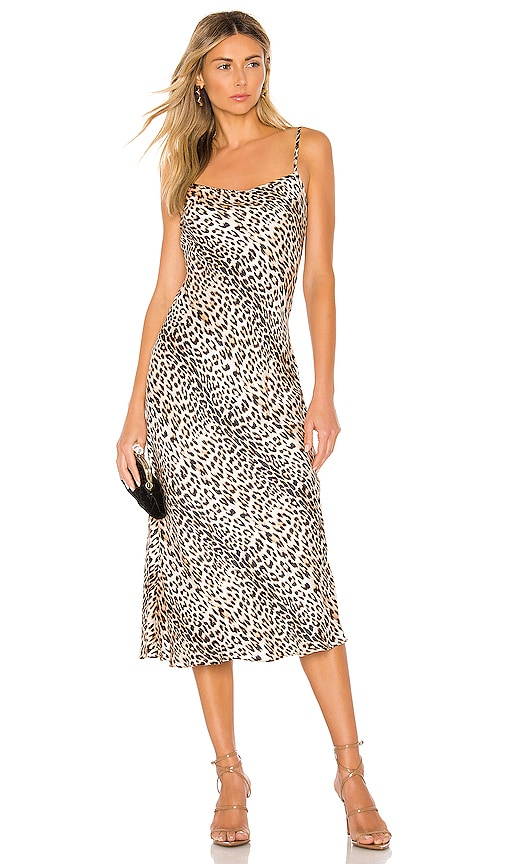 Feline Silk Midi Dress