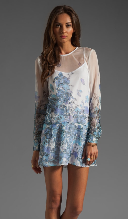 Falling Poppies Long Sleeve Tunic Dress