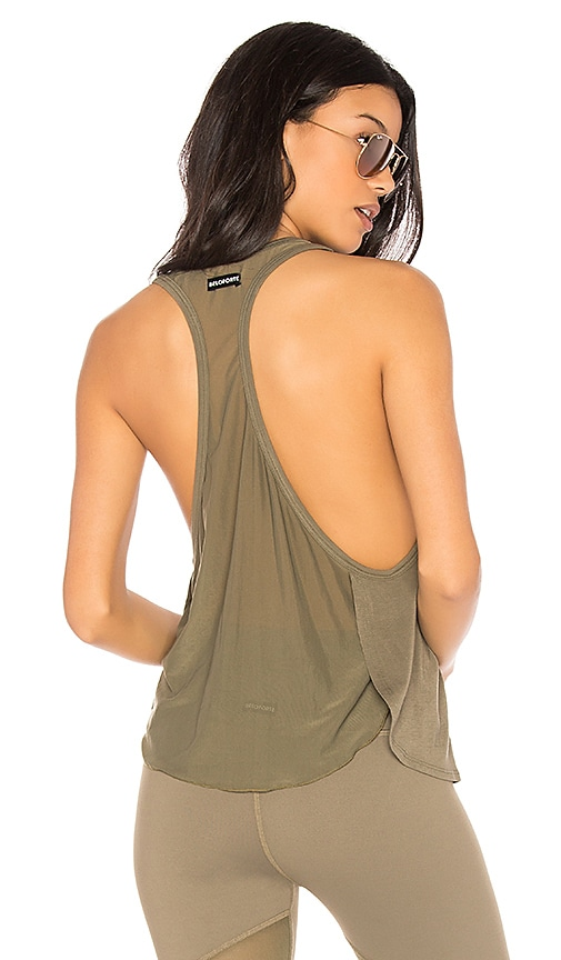 BELOFORTE Mesh Back Tank in Olive