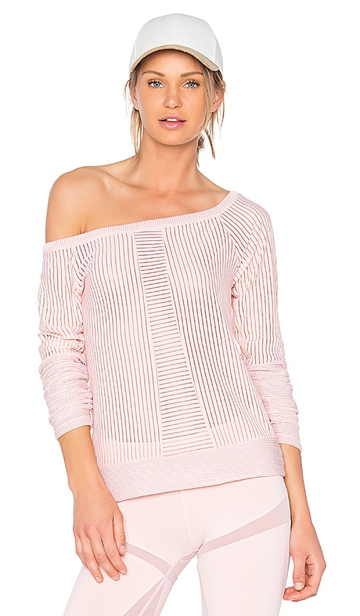 BELOFORTE Stripe Mesh Tee in Pink