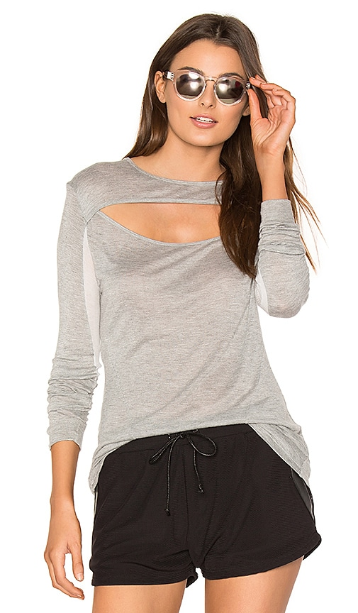 BELOFORTE Alessandra Peek A Boo Tee in Gray
