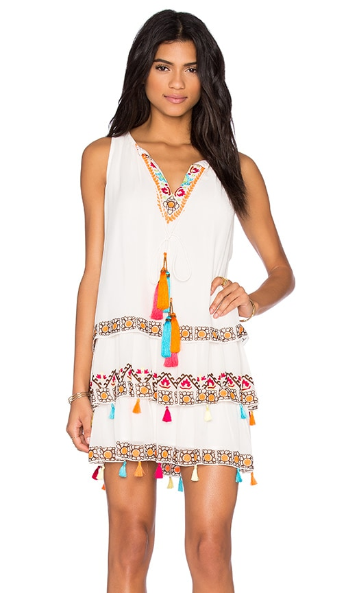 HEMANT AND NANDITA Tiered Mini Dress in White