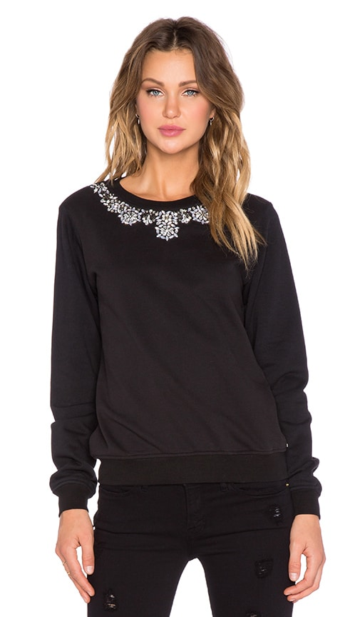 HEMANT AND NANDITA Crew Neck Embellished Sweatshirt in Black