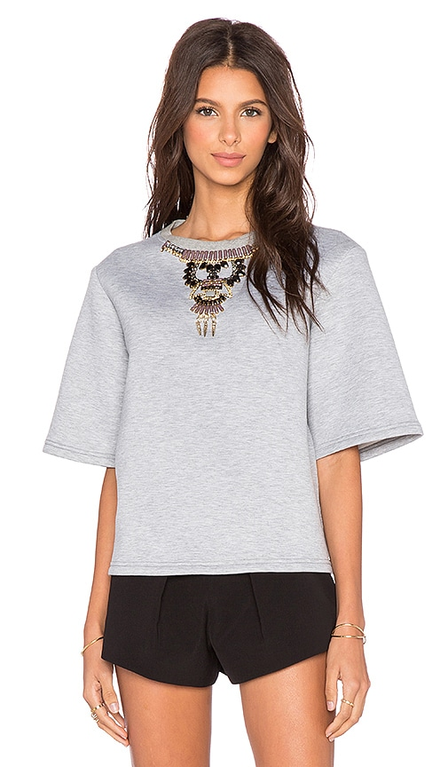 HEMANT AND NANDITA Embellished 3/4 Sleeve Sweatshirt in Grey