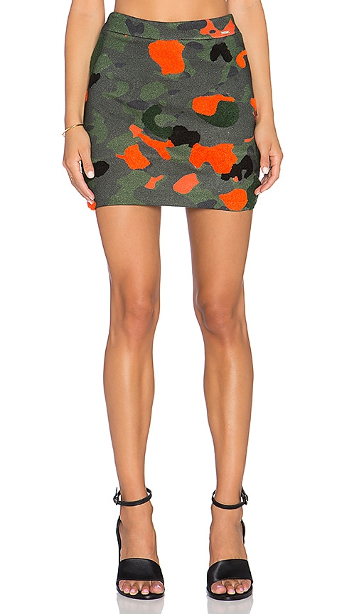HEMANT AND NANDITA Embroidered Camo Mini Skirt in Green
