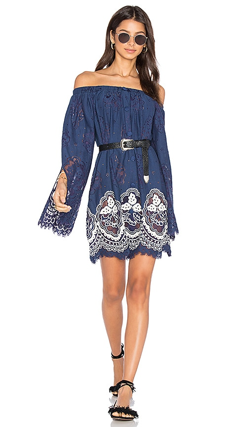 HEMANT AND NANDITA Eyelet Dress in Blue
