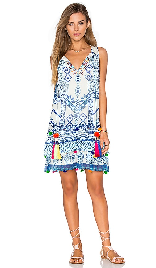 HEMANT AND NANDITA Mini Shift Dress in Blue