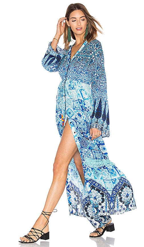 HEMANT AND NANDITA Printed Maxi Dress in Blue