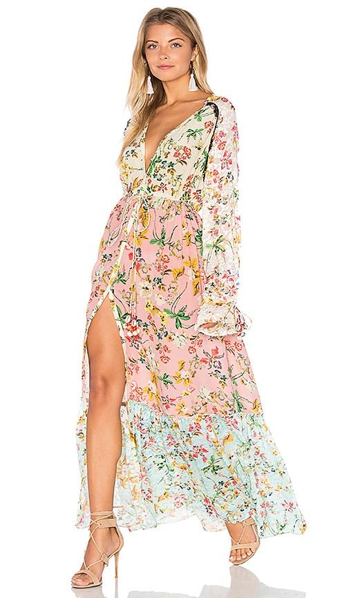 063dac3fc01 HEMANT AND NANDITA Cape Maxi Dress in Multi Chinese Floral