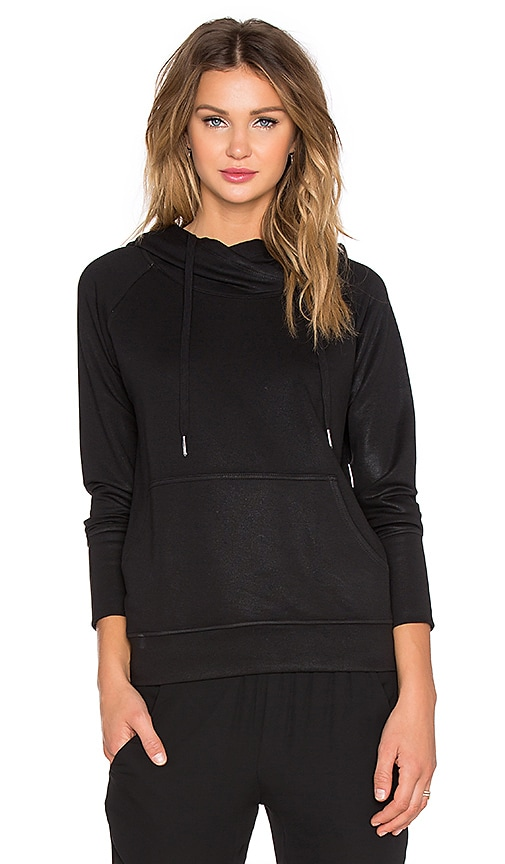 Benjamin Jay Viktoria Wax Coated Hoodie in Black Wax