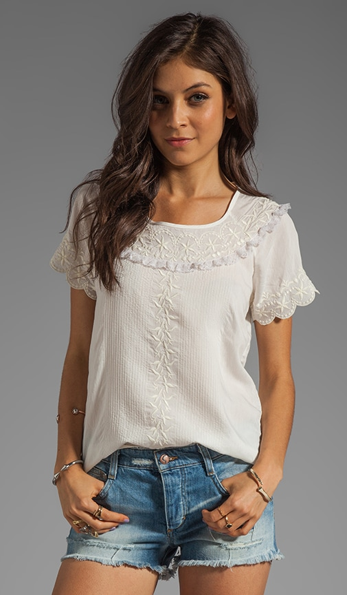 Silk Short Sleeve Shirt with Embroidery