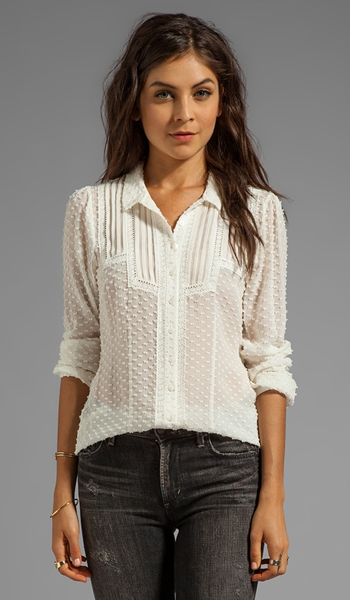 Annette Swiss Dot Button Down Top