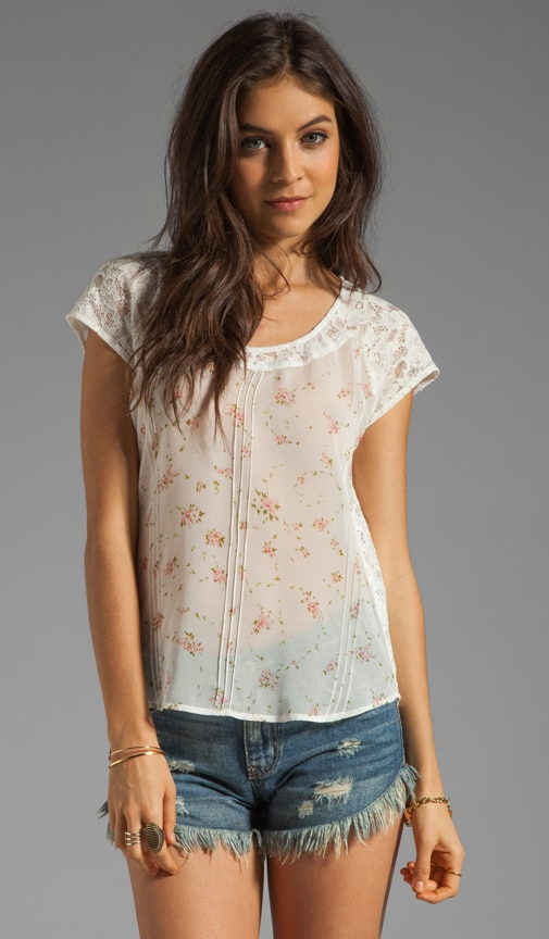 Silk Georgette/Lace Short Sleeve Pin Tuck Blouse