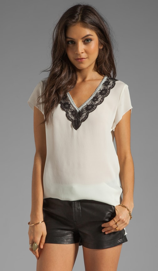 Silk Lace Trim V Neck T-Shirt