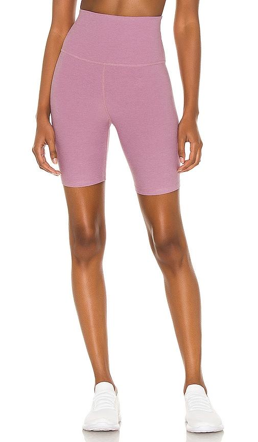 Beyond Yoga x REVOLVE Spacedye High Waisted Biker Short in Pink.