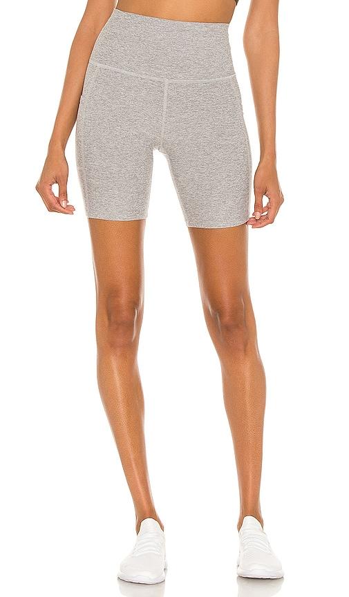 Beyond Yoga Spacedye Team Pockets Biker Shorts in Grey.