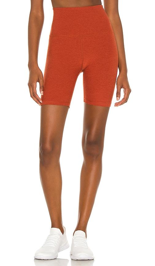 Beyond Yoga Spacedye High Waisted Biker Short in Orange.