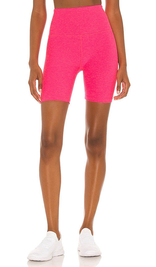 Beyond Yoga Spacedye High Waisted Biker Short in Pink.