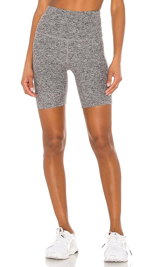 Beyond Yoga Spacedye High Waisted Biker Short in Gray.