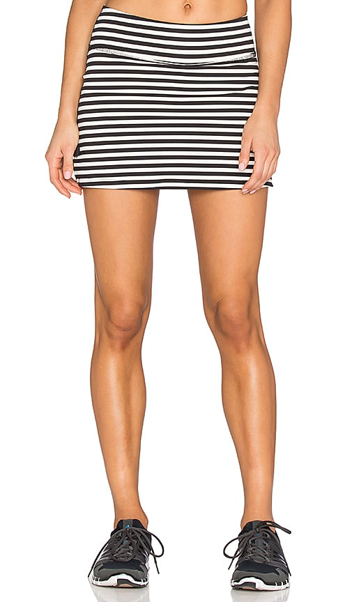 Beyond Yoga x Kate Spade Side Bow Slit Skirt in Black & Cream Stripe