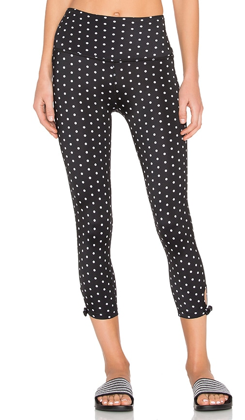 Beyond Yoga x Kate Spade High Waist Bow Capri Legging in Polka Dot