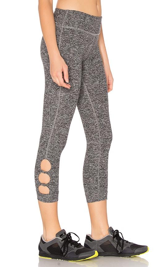 Beyond Yoga Spacedye Circle Cut-Out Capri Legging in Black & White Spacedye