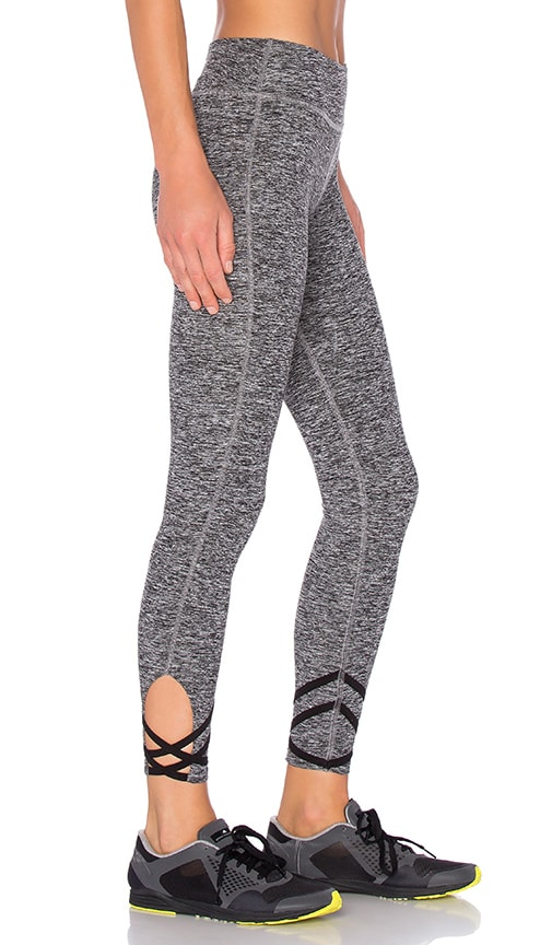 Beyond Yoga Spacedye Strappy Ballet Legging in Gray