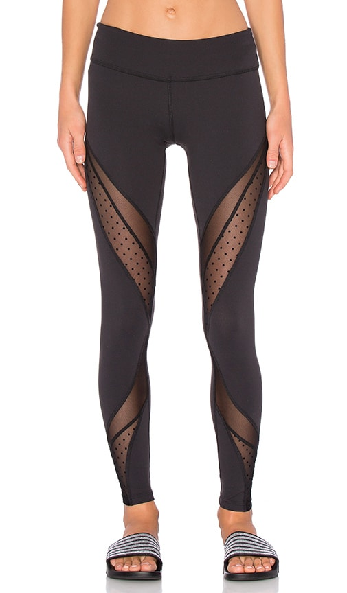 Beyond Yoga Polka Dot Mesh Long Legging in Black