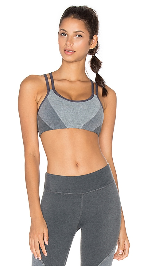 Beyond Yoga Plush Tri Panel Bra in Grey