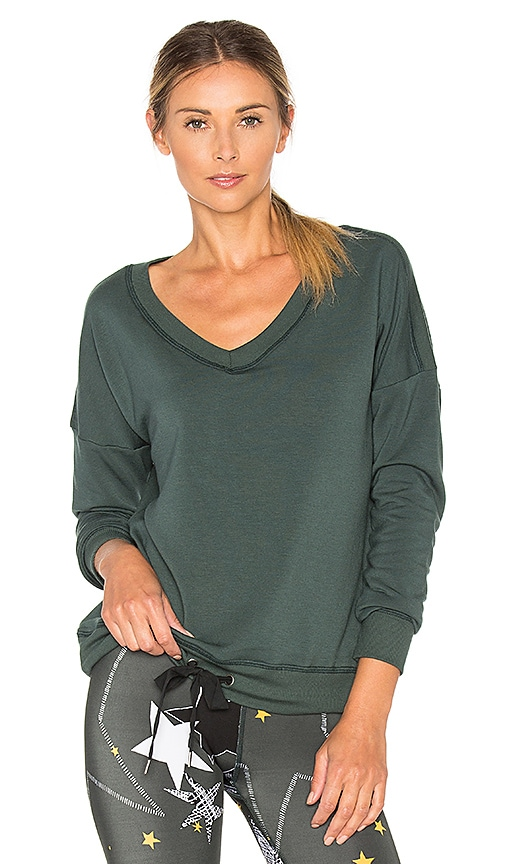 Beyond Yoga Cozy Fleece Rib Pullover in Dark Green