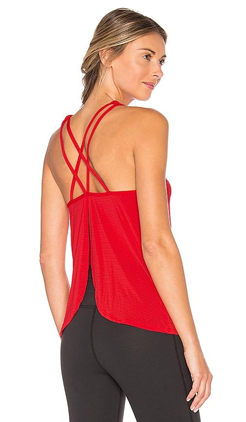 Beyond Yoga Sleek Stripe Waterfall Swing Tank in Red