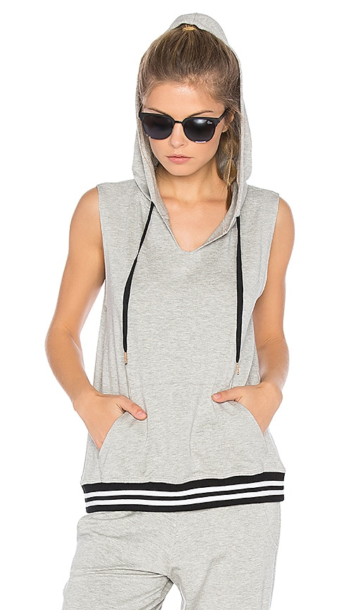 Beyond Yoga Varsity Muscle Hoodie in Gray