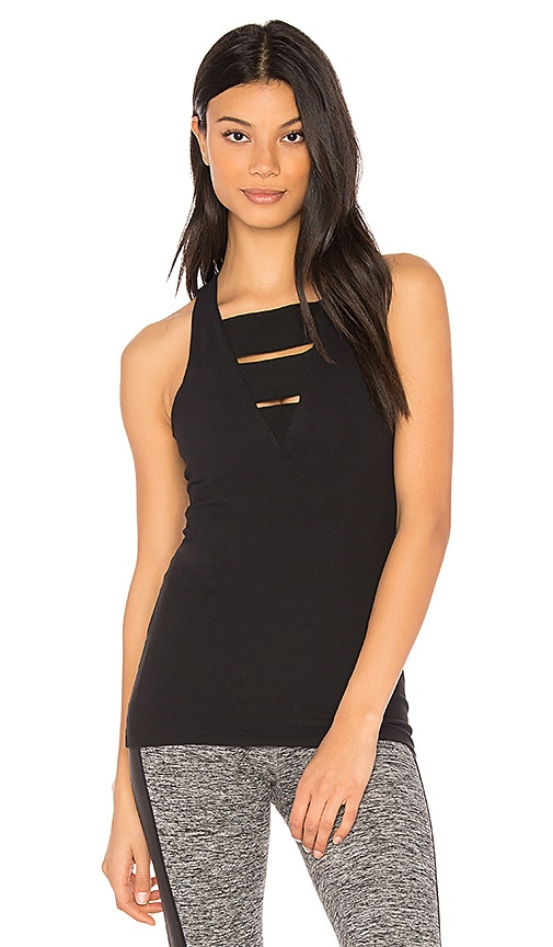 Beyond Yoga Wide Band Stacked Tank in Black