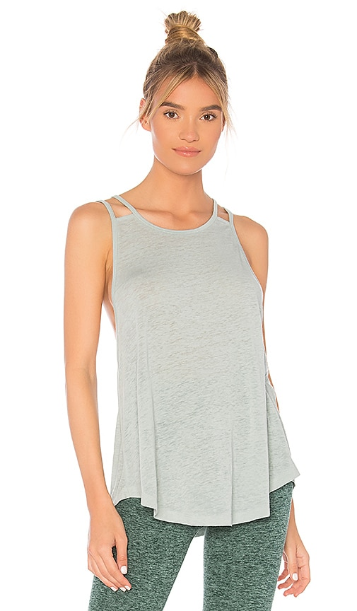 Beyond Yoga Behind Your Cross Back Tank in Sage