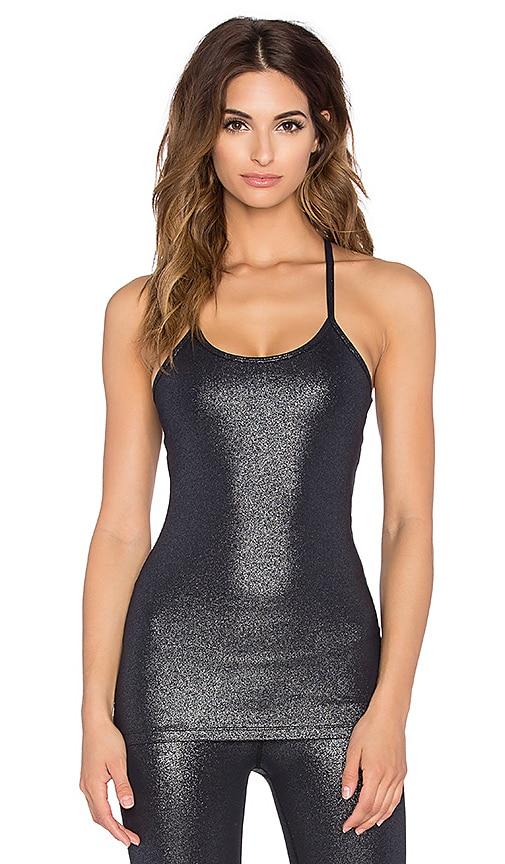 Beyond Yoga Shimmer Slim Racerback Cami in Black & Silver Foil
