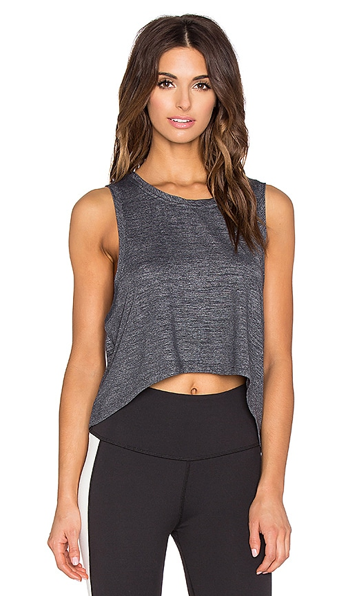 Beyond Yoga Cloud Heather High-Low Muscle Tank in Heather Grey