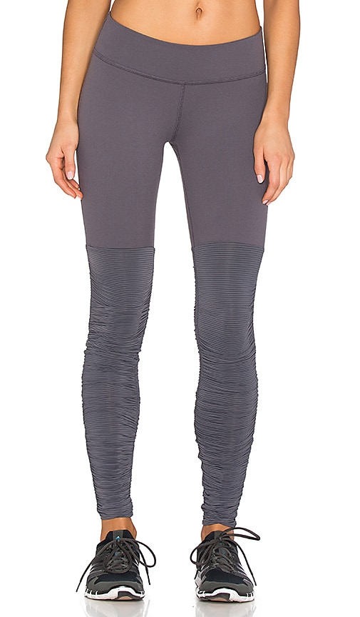 Beyond Yoga Sleek Stripe Leg Warmer Legging in Steel