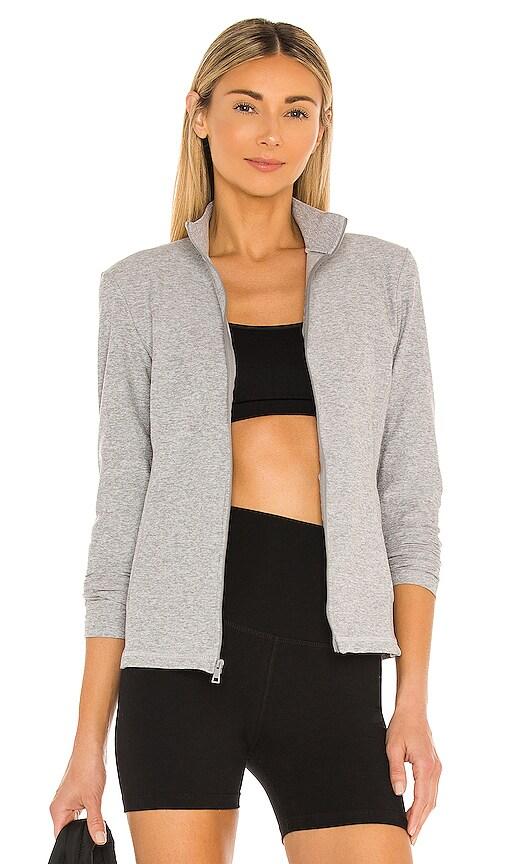 Beyond Yoga On The Go Mock Neck Jacket in Grey.