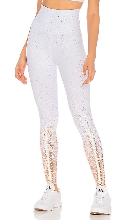 5f562fb982957 Beyond Yoga Ombre High Waisted Legging in White & Rose Gold Speckle ...