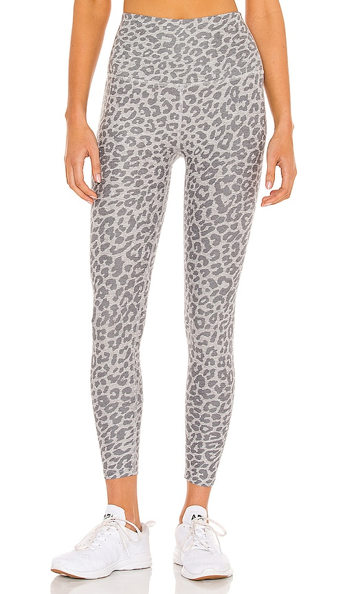Beyond Yoga Spacedye Printed Caught in the Midi High Waisted Legging in Grey.